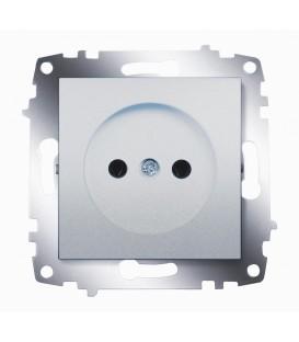 Розетка электрическая без заземления ABB Cosmo (Алюминий)