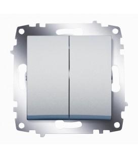 Выключатель двухклавишный ABB Cosmo (Алюминий)