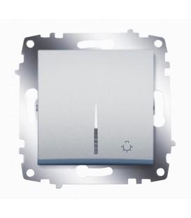 Кнопка одноклавишная ABB Cosmo с подсветкой (Алюминий)