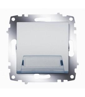 Кнопка одноклавишная с полем для надписи ABB Cosmo (Алюминий)