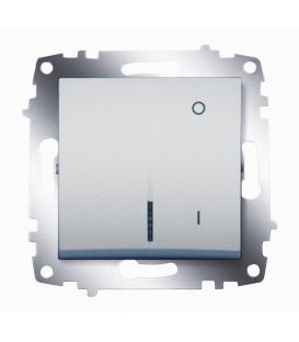 Переключатель двухполюсный с подсветкой ABB Cosmo (Алюминий)
