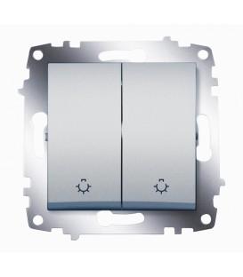 Выключатель двухклавишный с контрольной подсветкой ABB Cosmo (Алюминий)