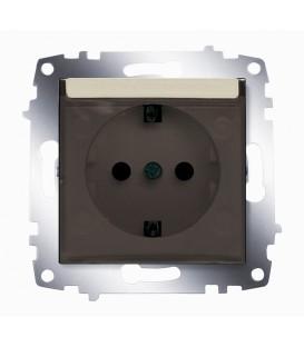 Розетка электрическая с крышкой с заземлением ABB Cosmo (Титаниум)
