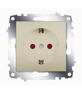 Розетка электрическая с заземлением со шторками ABB Cosmo (Титаниум)