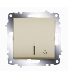 Кнопка одноклавишная ABB Cosmo с подсветкой (Титаниум)