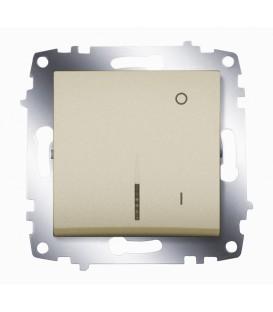 Переключатель двухполюсный с подсветкой ABB Cosmo (Титаниум)