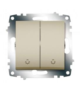 Выключатель двухклавишный ABB Cosmo с контрольной подсветкой (Титаниум)