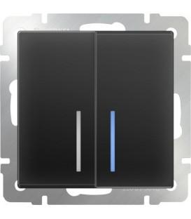 Выключатель двухклавишный проходной с подсветкой. Черный