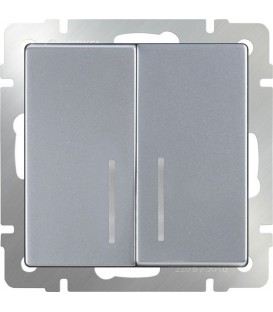 Выключатель двухклавишный проходной c подсветкой