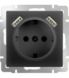 Розетка с заземлением, шторками и USB х2