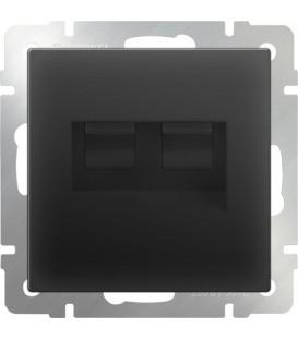 Werkel. Розетка двойная Ethernet RJ-45 UTP+UTP Компьютерная розетка RJ-45 и Компьютерная розетка RJ-45. Черный матовый