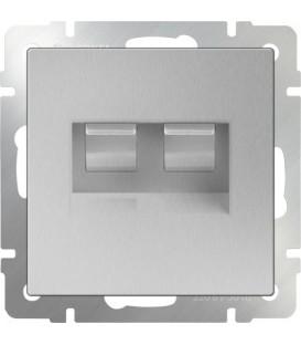 Werkel. Розетка двойная Ethernet RJ-45 UTP+UTP Серебряная