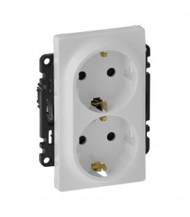 Двойная розетка электрическая без заземления со шторками, автоматические клеммы Valena Life (белая)