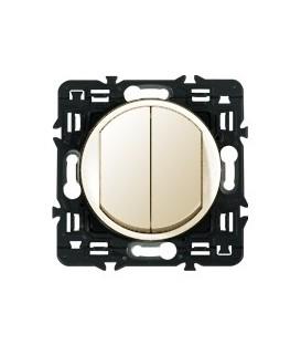 Выключатель двухклавишный кнопочный Legrand Celiane 10А с клавишей (слоновая кость)