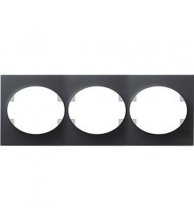 Рамка трехместная горизонтальная ABB Tacto (антрацит)