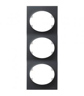 Рамка трехместная вертикальная ABB Tacto (антрацит)