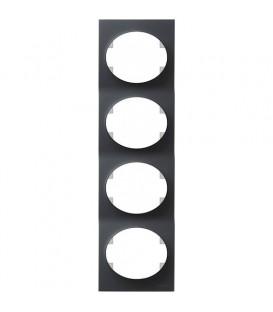 Рамка четырехместная вертикальная ABB Tacto (антрацит)
