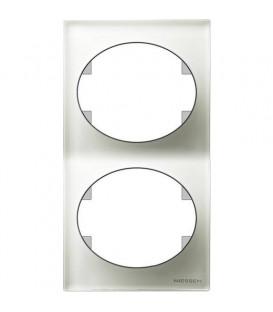 Рамка двухместная вертикальная ABB Tacto (Белое стекло)