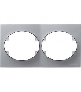 Рамка двухместная горизонтальная ABB Tacto (серебристый)