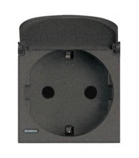 Розетка Axolute 2К+З, 10/16 А 250В с зазем. конт. Schuko,клеммы с автомат. зажимом, с защитными шторками, 2 модуля