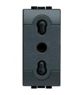 Розетка LivingLight 2К+З, 10/16 А 250В расст. между центрами отверстий 19 и 26 мм – с экраниров. конт., ит. стандарт, 1 мод.