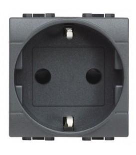 Розетка LivingLight 2К+З, 10/16 А 250В с зазем. контактами Schuko,клеммы с автомат.зажимом, с защитными шторками, 2 модуля