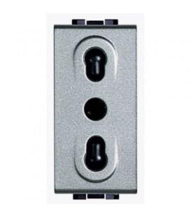 Розетка LivingLight 2К+З, 10/16 А 250В расст. между центрами отверстий 19 и 26 мм с экраниров. конт., ит. стандарт, 1 модуль