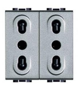 Блок из двух розеток LivingLight 2К+3, 10/16 А, 250В, расстояние между центрами отверстий 19мм и 26мм, закрытого типа, 2 модуля