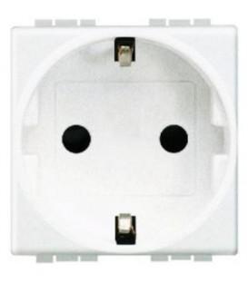 Розетка LivingLight 2К+З, 10/16 А 250В с зазем. контактами Schuko,клеммы с автомат. зажимом, с защитными шторками, 2 модуля