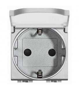 Розетка 10/16 А 250В заземляющими контактами Schuko, с защитной крышкой с винтовыми зажимами, LivingLight 2 модуля