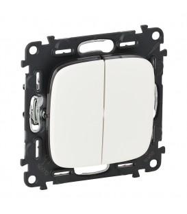 Выключатель двухклавишный с автоматическими клеммами Valena Allure (белый)