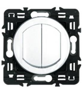 Влагозащищенный выключатель двухклавишный Legrand Celiane 10А с клавишей (белый)