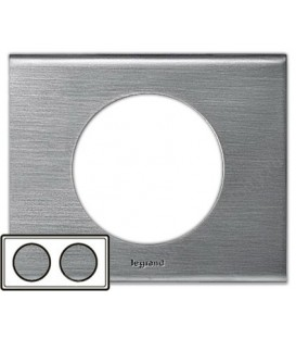 Рамка Legrand Сeliane двухместная (фактурная сталь)