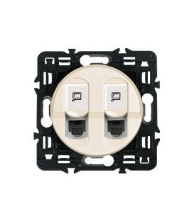 Розетка компьютерная RJ45 Legrand Celiane с лицевой панелью (слоновая кость) двойная