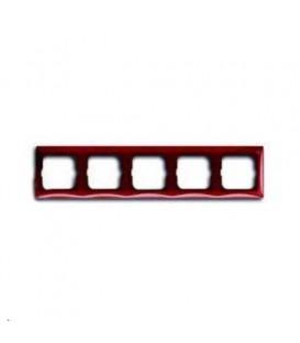 Рамка пятиместная ABB Basic 55, красная