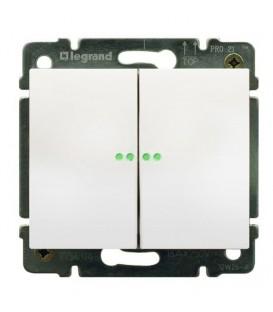 Выключатель двухклавишный Legrand Galea Life с подсветкой (белый)