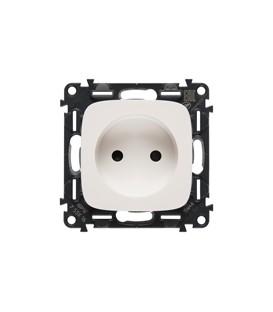 Электрическая розетка без заземления с защитными шторками Valena Allure, автоматические клеммы (белый)