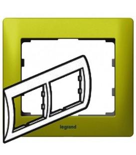 Рамка Legrand Galea life двухместная горизонтальная (зеленый)