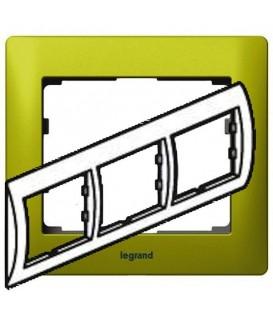 Рамка Legrand Galea life трехместная горизонтальная (зеленый)