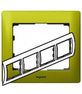 Рамка Legrand Galea life четырехместная горизонтальная (зеленый)