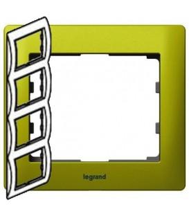 Рамка Legrand Galea life четырехместная вертикальная (зеленый)