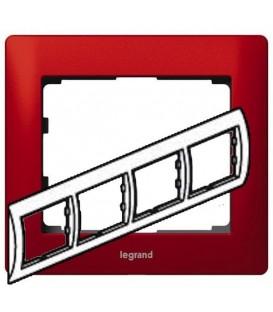 Рамка Legrand Galea life четырехместная горизонтальная (красный)