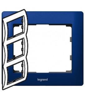 Рамка Legrand Galea life трехместная вертикальная (синий)