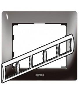 Рамка Legrand Galea life пятиместная горизонтальная (тёмный никель)
