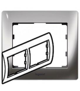 Рамка Legrand Galea life двухместная горизонтальная (хром)