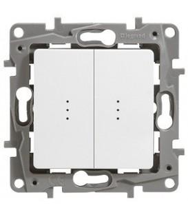 Выключатель-переключатель Etika Plus двухклавишный с подсветкой (белая)