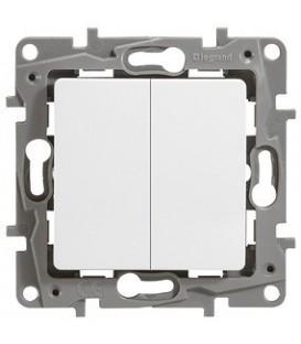 Выключатель-переключатель Etika Plus двухклавишный (белая)
