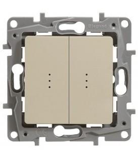 Выключатель-переключатель Etika Plus двухклавишный с подсветкой (слоновая кость)