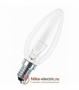 Лампа накаливания свеча 40W E14 прозрачная