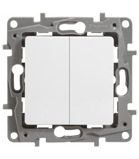 Выключатель двухклавишный с подсветкой по контуру Etika (белая)